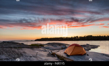 Camping at Tjuvskär island, Kirkkonummi, Finland, Europe, EU - Stock Photo