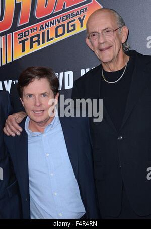 New York, NY, USA. 21st Oct, 2015. Michael J. Fox, Christopher Lloyd at arrivals for BACK TO THE FUTURE 30th Anniversary - Stock Photo