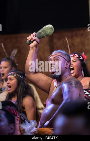 Palmas, Brazil. 21st Oct, 2015. A Maori warrior from New Zealand performs the traditional Haka dance at the first - Stock Photo