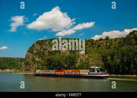 Container ship, Germany, Europe, Goarshausen, Loreley, rock, middle Rhine Valley, Rhineland Palatinate, Rhine, Saint - Stock Photo