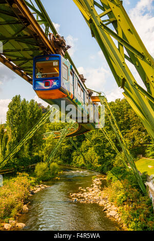 Bergisches land, Germany, Europe, elevated, railway, Nordrhein Westphalia, suspension  railroad, transport, traffic, - Stock Photo