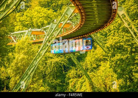 Bergisches land, Germany, Europe, elevated, railway, Nordrhein Westphalia, suspension  railroad, transport, traffic, - Stock Photo