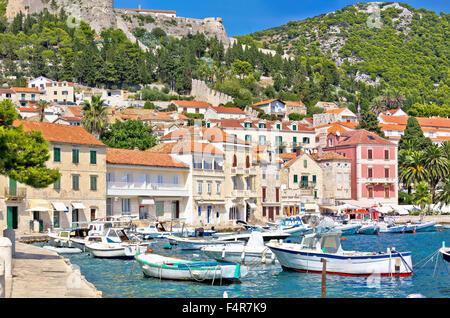Island of Hvar waterfront architecture, Dalmatia, Croatia - Stock Photo