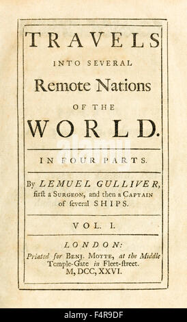 Title page from 'Travels into Several Remote Nations of the World' better know as 'Gulliver's Travels' by Jonathan - Stock Photo