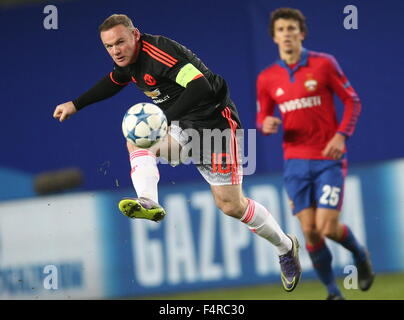 Moscow Region, Russia. 21st Oct, 2015. Manchester United's Wayne Rooney handles the ball in their UEFA Champions - Stock Photo