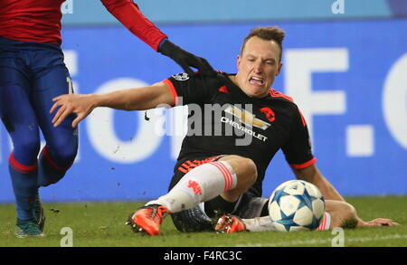 Moscow Region, Russia. 21st Oct, 2015. Manchester United's Phil Jones in their UEFA Champions League Group Stage - Stock Photo