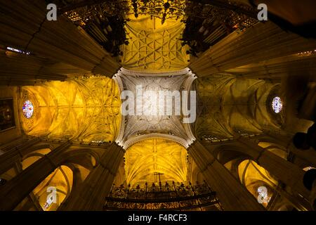 Interior of Nave, Seville Cathedral, Catedral Sevilla, Andalucia, Spain, Europe - Stock Photo