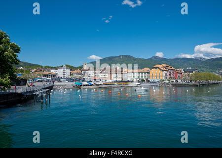 Switzerland, town, city, Vaud, VD, Vevey, Lac Léman, lake Geneva, lake, summer, - Stock Photo