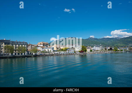 Switzerland, town, city, Vaud, VD, Vevey, Lac Léman, lake Geneva, lake, summer, - Stock Photo