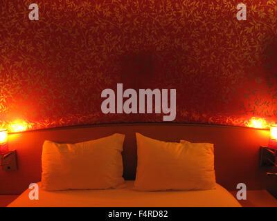hotel, bedroom, red, room, Bourg en Busse, France, Europe - Stock Photo