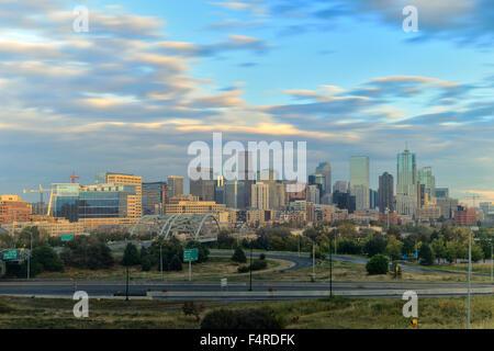 USA, UnitedStates, America, Colorado, Denver, skyline, city, cityscape, no people, American, big city, mile high - Stock Photo