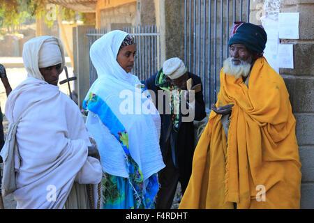 Tigray region town Axum, Aksum, believers, pilgrims in front of church - Stock Photo