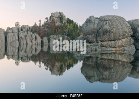 Sylvan Lake at dawn, Custer State Park, Black hills, South Dakota, USA - Stock Photo