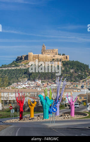 Alcaudete, town, Andalusia, Jaen, Landscape, Spain, Europe, Spring, architecture, art, castle, church, olive, colourful, - Stock Photo