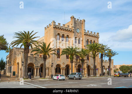 Building, Ciutadella, Port, City Hall, Menorca, Balearics, Spring, architecture, Mediterranean, no people, palm - Stock Photo