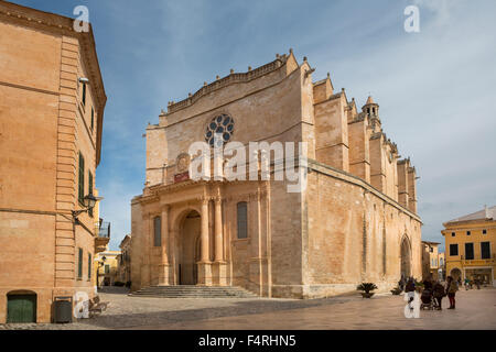 Ciutadella, Menorca, Balearics, Spring, architecture, cathedral, down town, Mediterranean, old, touristic, travel - Stock Photo