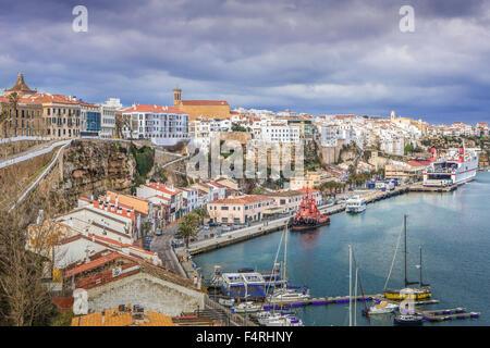 Balearic Islands, Landscape, Mao, town, Menorca, Island, Spain, Europe, Spring, architecture, cliff, Mediterranean, - Stock Photo