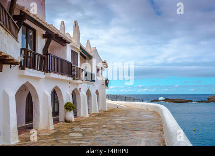 Balearic Islands, Binibeca, Fishing Village, Menorca, Island, Old Binibeca, Spain, Europe, Spring, arch, architecture, - Stock Photo