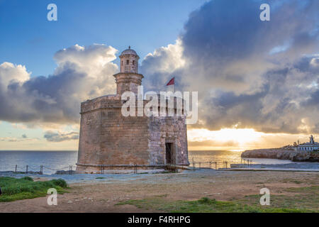 Balearic Islands, Ciutadella, town, Menorca, Island, Sant Nicolau, Spain, Europe, Spring, architecture, castle, - Stock Photo