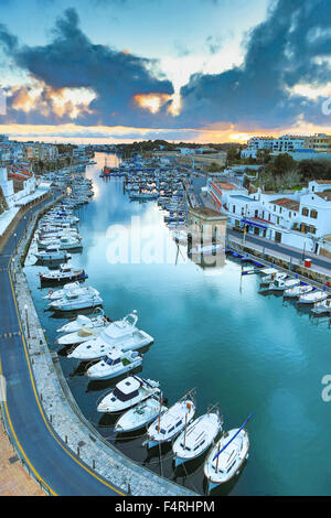 Balearic Islands, Ciutadella, town, Landscape, Menorca, Island, Spain, Europe, Spring, architecture, boats, colourful, - Stock Photo