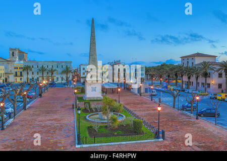 Balearic Islands, Born, Ciutadella, town, Menorca, Island, Spain, Europe, Spring, architecture, lights, no people, - Stock Photo