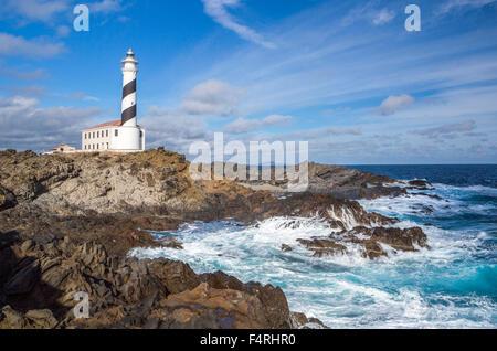 Balearic Islands, Favaritx, Landscape, Menorca, Balearics, Spain, Europe, Spring, architecture, island, lighthouse, - Stock Photo