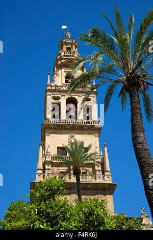 Andalusia, Spain, Europe, outside, day, Cordoba, Mezquita de Cordoba, bell tower, belfry, steeple, church, building, - Stock Photo