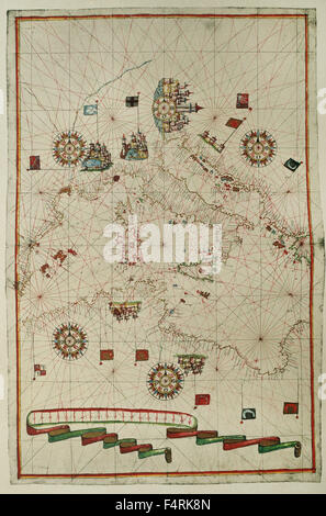Portolan atlas of the world by Joan Martines (1556-1590). Messina, 1587. Western Mediterranean. National Library. - Stock Photo