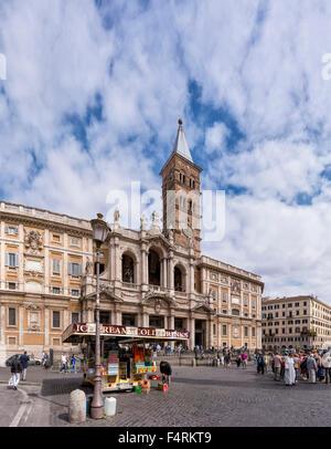 Italy, Europe, Lazio, Rome, Roma, city, village, spring, people, church, Piazza di Santa Maria Maggiore, square, - Stock Photo