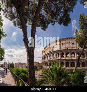 Italy, Europe, Lazio, Rome, Roma, city, village, forest, wood, trees, spring, people, Piazza del Colosseo, Coloseum - Stock Photo