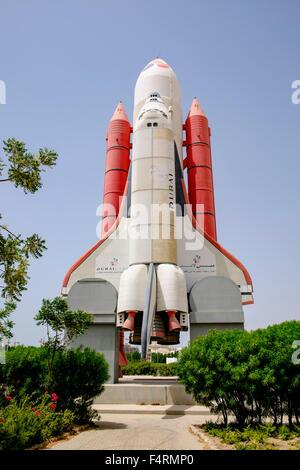 Space Shuttle at an abandoned amusement park at Dubailand in Dubai United Arab Emirates - Stock Photo