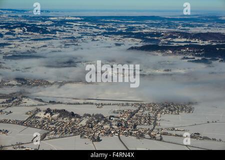 Bavaria, Germany, Europe, Forggensee, fog, Ostallgäu, panorama, Swabian, Schwangau, lake scenery, Tegelberg, Waltenhofen, - Stock Photo