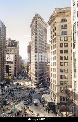 NEW YORK CITY - OCTOBER 17, 2015: View of midtown Manhattan along Broadway at the historic Flatiron Building.