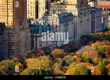 Aerial view of Upper West Side buildings and Central Park in fall, Manhattan, New York City - Stock Photo