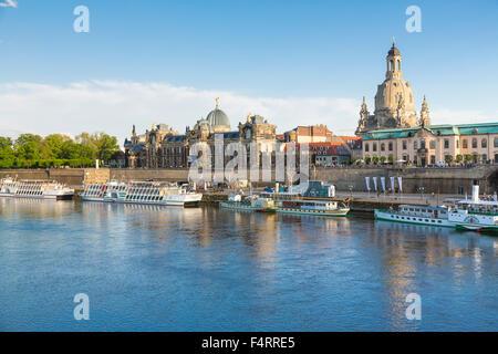 View over river Elbe, Academy of Fine Arts, Frauenkirche, Brühl's Terrace, Sächsische Dampfschiffahrt boats, Dresden, - Stock Photo