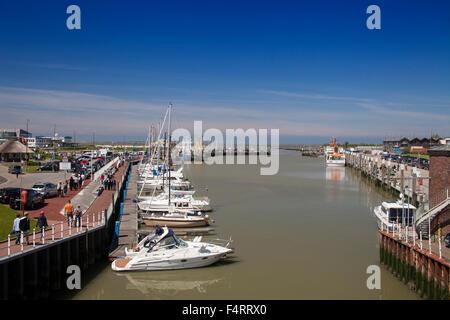 Harbour of Bensersiel, East Friesland, Lower Saxony, Germany - Stock Photo