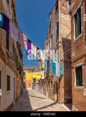 Italy, Europe, Venezia, Venice, Veneto, Drying, laundry, Calle Scudi, Castello, village, summer, - Stock Photo