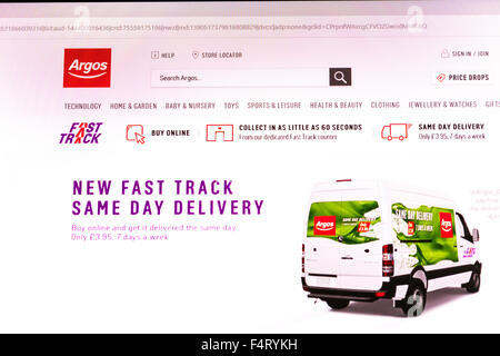 Argos website homepage online screen screenshot shop shopping web site internet net sign in UK - Stock Photo