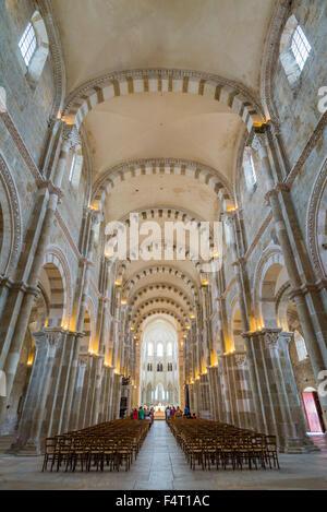 Sainte Marie Madeleine de Vezelay Basilica listed as World Heritage by UNESCO, France, Yonne, Vezelay - Stock Photo