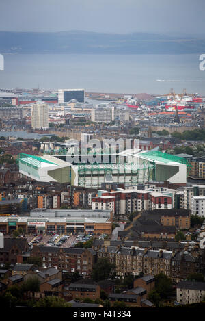 Easter Road stadium, pictured from Arthur's Seat before the Scottish Championship match between Hibernian and visitors - Stock Photo