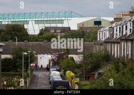 Easter Road stadium, pictured from London Road before the Scottish Championship match between Hibernian and visitors - Stock Photo