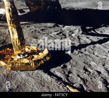 The lunar module of Apollo 11 on the lunar surface, the Moon - Stock Photo