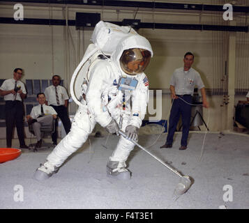 Training astronaut Neil Armstrong in the Apollo 11, Houston, TX, USA - Stock Photo