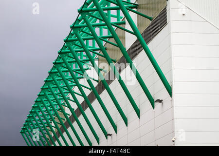 An exterior view of the East Stand at Easter Road stadium before the Scottish Championship match between Hibernian - Stock Photo