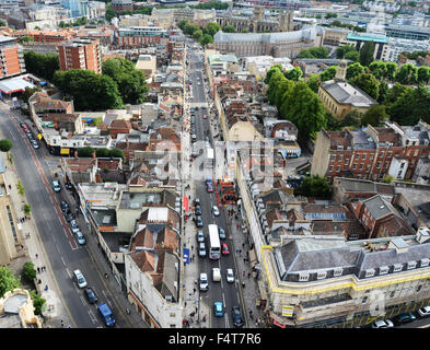 View from the Wills Memorial Building's tower in Bristol looking down Park Street and across the city - Stock Photo