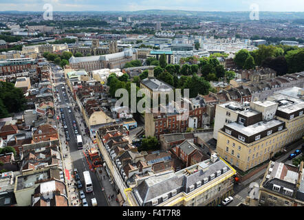 View from the Wills Memorial Building's tower in Bristol looking down Park Street and across the city. - Stock Photo