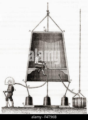 A diving bell built by Halley in 1691.  Edmond or Edmund Halley, 1656 – 1742. English astronomer, geophysicist, - Stock Photo