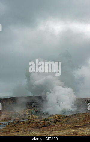 Gunnuhver Hot Springs in Iceland letting off steam - Stock Photo