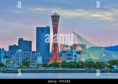 Japan, Kobe City, Kobe Port Skyline, Kobe Tower - Stock Photo