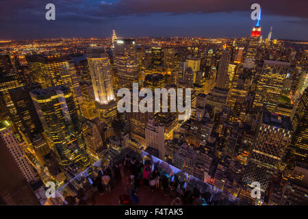 USA, East Coast, New York, Manhattan, view from Top of, rock, viewing deck to midtown at night - Stock Photo